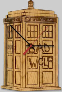 Wooden Tardis Bad Wolf Wall Clock