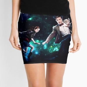 Amy And The Doctor In Space Women's Skirt