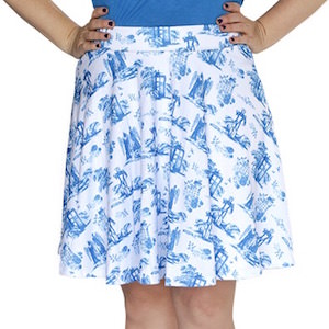 Tardis, Dalek And Cyberman Circle Skirt