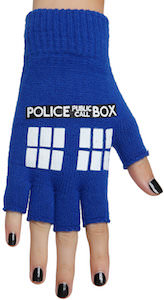 Blue Tardis Fingerless Gloves