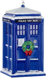 Snow Covered Christmas Tardis Ornament