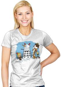 Snow Dalek And Calvin And Hobbes T-Shirt