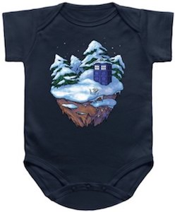 Doctor Who Tardis In Winter Baby Bodysuit