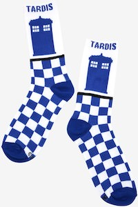 Doctor Who Checkered Pattern Tardis Socks