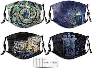 Tardis 4 Piece Face Mask Set