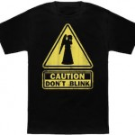 Doctor Who Weeping Angel Caution Don't Blink Sign T-Shirt