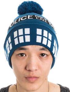 Tardis Pom Pom Beanie Hat