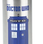 Vendor metal Doctor Who water bottle with the Tardis on it