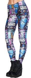 Comic Style Tardis, Dalek, Cybermen And Weeping Angel Leggings