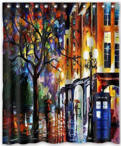 Doctor Who Rainy Street And The Tardis Shower Curtain