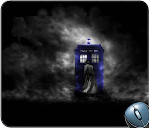 Doctor Who Tardis And 10th Doctor In The Fog On A Mousepad