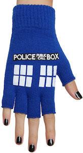 Blue Tardis Fingerless Gloves
