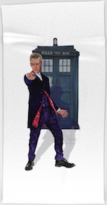 The Tardis And The 12th Doctor Beach Towel