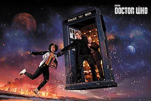 Bill, Nardole, And The Doctor In The Tardis Poster