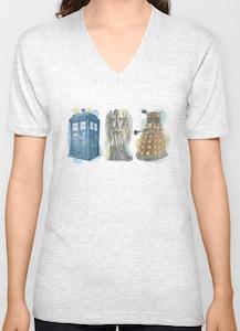 Tardis, Weeping Angel, And Dalek Lineup T-Shirt