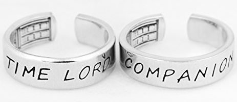 Time Lord And Companion Ring Set With Tardis On The Inside