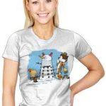 Snow Dalek And Calvin And Hobbes T-Shirt