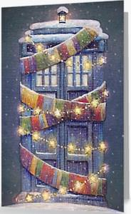 Stylish Decorated Tardis Christmas Card