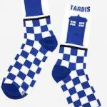 Doctor Who Checkered Pattern Tardis Socks