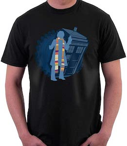 Silhouette Of The Tardis And The 4th Doctor