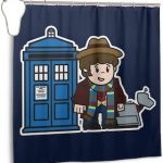 Cartoon Style Doctor Who Shower Curtain