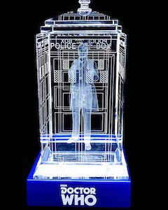 A Crystal Tardis With The 1st Doctor Inside It