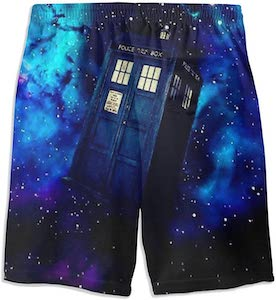 Blue Space And The Tardis Swim Shorts