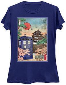 Japanese Garden With The Tardis T-Shirt